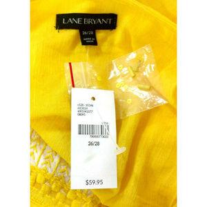 Lane Bryant Tops - Lane Bryant 26 28 Yellow Beaded Tie Waist Gauze